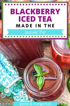 There are lots of ways to make iced tea and this easy iced tea recipe uses the Instant Pot.  The blackberry iced team recipe has a hint of basil and honey for sweetness and makes a tasty fruity iced tea for summer or warm autumn days.  Check out the full details! #blackberrytea #blackberryicedtea #icedtea #instantpotrecipe