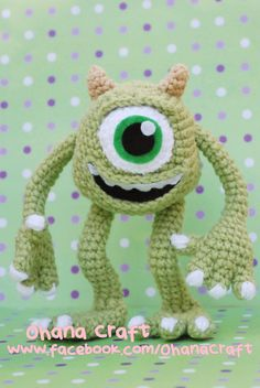 one-eye Monster Crochet PDF pattern door OhanaCraftAmigurumi