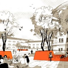 Preis: © GREENBOX Post Crisis Banking Architecture - The (Virtual) Office The submit disaster ban Architecture Graphics, Architecture Drawings, Architecture Design, Foster Architecture, Classical Architecture, Landscape Sketch, Landscape Drawings, Landscape Designs, Modelos 3d