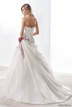 nicole jolies 2016 wedding dresses strapless sweetheart neckline red accent beautiful a line wedding dress joab16468 back view