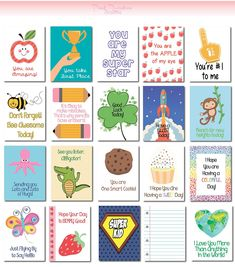 20 Lunch Box Notes Cards with Motivational Messages for Kids Children Kindergarten | back to school | Cute | Love Notes | Lunch Surprise by PinkRainbowDesigns on Etsy
