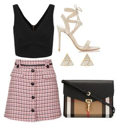 """""""Untitled #726"""" by meryem-mess ❤ liked on Polyvore featuring Topshop, Gianvito Rossi, Oasis and Burberry"""
