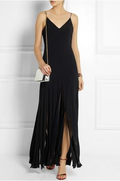 Kate Moss for Topshop | Fringed stretch-crepe maxi dress | NET-A-PORTER.COM