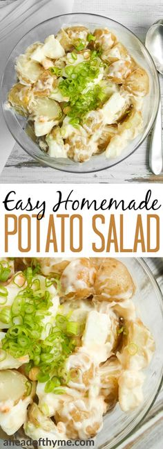 Make your barbecue or picnic complete this summer with easy homemade potato salad, made using only a few simple ingredients. | aheadofthyme.com via @aheadofthyme