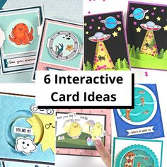 6 Fun Interactive Cards Fun Fold Cards, Cool Cards, Folded Cards, Spinner Card, Interactive Cards, Flower Stands, Shaker Cards, Paper Hearts, Close To My Heart