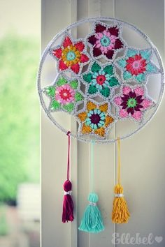Such a unique crochet dream catcher!Next Post Previous Post Ellebel Ellebel Crochet Wall Art, Crochet Wall Hangings, Love Crochet, Diy Crochet, Crochet Crafts, Yarn Crafts, Crochet Projects, Unique Crochet, Crochet Mandala Pattern