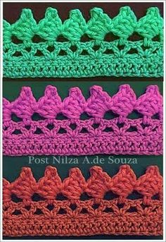 Picos Crochet Border Patterns, Crochet Blanket Edging, Crochet Scarf Easy, Baby Afghan Crochet, Basic Crochet Stitches, Crochet Squares, Crochet Amigurumi, Crochet Art, Filet Crochet