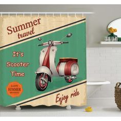 Ambesonne Scooter Motorbike Summer Travel Italian City Sight Hipster Enjoy Ride Illustration Shower Curtain Set Size: