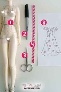 How to make your own doll clothes patterns by TatianaBStudio: ✿ Make patterns... it's in Russian but has Google translate.