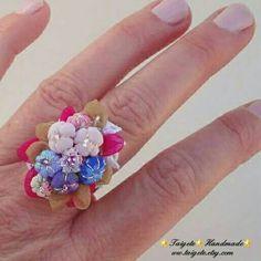 Guarda questo articolo nel mio negozio Etsy https://www.etsy.com/it/listing/494167802/romantico-anello-in-stoffa-swarovski