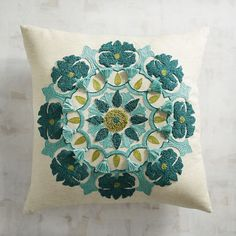 Texture and turquoise—there's plenty of both on our fringed pillow. Mix in a. Texture and turquoise—there's plenty of both on our fringed pillow. Mix in a few restful green accents, and you have you. Cushion Embroidery, Diy Embroidery, Geometric Embroidery, Turquoise Home Decor, Pillow Texture, Hand Applique, Sewing Art, Hand Embroidery Designs, Blue Pillows