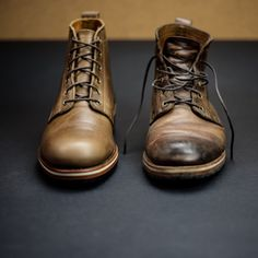 http://chicerman.com  helmboots:  /// THE RAILROAD /// old and new - we love seeing a pair of HELM boots after they have been broken in and have become your own unique and personal pair  #menshoes