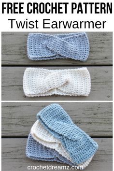 How to Crochet a Quick Twist Headband or Earwarmer, A Free Crochet Pattern This easy twist ear warmer crochet tutorial for women makes the perfect accessory to keep you cute Crochet Headband Free, Knitted Headband, Crochet Baby, Free Crochet, Crochet Granny, Beginner Crochet, Crochet Gloves, Loom Knitting Patterns, Bands