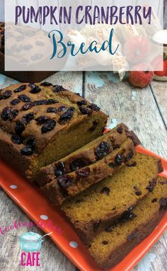 Fall reminds me of pumpkin spice. You have pumpkin spice coffee, pumpkin spice cookies and now, we have a pumpkin, cranberry bread! This is a must try recipe! Pumpkin Spice Cookies, Pumpkin Spice Coffee, Spiced Coffee, Quick Bread Recipes, Baking Recipes, Dessert Recipes, Yummy Recipes, Pumpkin Cranberry Bread, Homemade Desserts