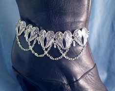 Angel Wing Boot Bling Chains Jewelry Bracelet Western Fashion Strap Biker Anklet #Handmade