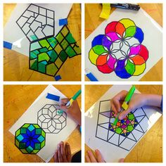 Lesson Plan: Islamic Stained Glass Windows ~ Artful Artsy Amy - use transparencies and tape sections together to create forms Middle School Art, Art School, Chateau Moyen Age, Ramadan Crafts, 6th Grade Art, Math Art, Art Lessons Elementary, Art Education Lessons, Art Lesson Plans