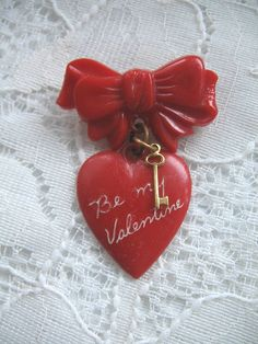 Vintage Red Heart Pin....Key and Bow...Celluloid by iamcameo2, $44.00