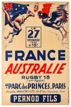 View this item and discover similar for sale at - Rare original vintage sport event poster advertising the rugby test game between France and Australia held at the Parc des Princes in Paris on 27 December Rugby Poster, Poster On, Paris Poster, Australia Rugby, Sports Advertising, France Vs, Test Games, Italian Posters, Olympic Games Sports