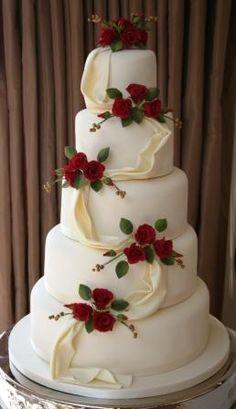 Wedding Cakes | Melanie Ferris Cakes News » 5-tier Wedding Cake with Red Roses