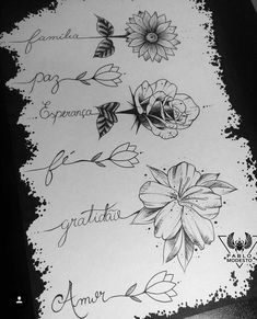 Flowers flower Tattoo tattoostencil stencil outlines marker fineliner Blackink i. Mini Tattoos, Word Tattoos, Flower Tattoos, Body Art Tattoos, Small Tattoos, Flower Outline Tattoo, Daisies Tattoo, Name Flower Tattoo, Rose Tattoo With Name