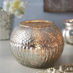 Antique Glass Large Round Textured Tea Light Holder from live laugh love