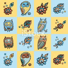 Vector patchwork background with owls and flowers Royalty Free Stock Vector Art Illustration