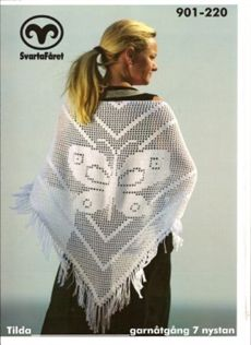 Virkad sjal med fjäril Filet Crochet, Crochet Shawl, Knitted Shawls, Crochet Clothes, Blogg, Free Pattern, Scarves, Cover Up, Butterfly