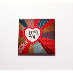 I Love You Magnet Valentines Day Magnet Heart Magnet Fridge Magnet... ($4.75) ❤ liked on Polyvore featuring home, home decor, office accessories, brown, home & living, kitchen & dining, kitchen décor, refrigerator magnets, magnets fridge and magnets refrigerator