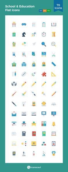 School & Education Flat Icons  Icon Pack - 70 Flat Icons