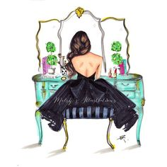 """More illustrations LINE BOTWIN """"girly illustrations """" The Turquoise Vanity by Melsys on Etsy Illustration Mode, Paper Illustration, Girly, Arte Fashion, Paper Fashion, Jamel, Illustrator, Pics Art, Fashion Sketches"""