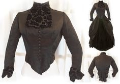 1890s Antique Victorian Gothic Silk Satin Velvet Brocade Blouse with Tails by VictorianGothicGlam