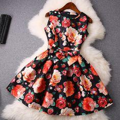 Round Neck Sleeveless Flower Print Dress Waist Bow on Luulla Little Dresses, Lovely Dresses, Trendy Dresses, Beautiful Outfits, Short Dresses, Prom Dresses, Look Fashion, Skirt Fashion, Fashion Dresses