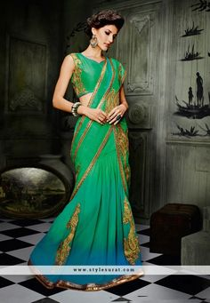 Green And Blue Color Georgette Fabric Fancy Designer Party Wear A-Line Lehenga Choli-60188