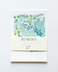 Post card set with watercolour of dolphin whale di Abstractales