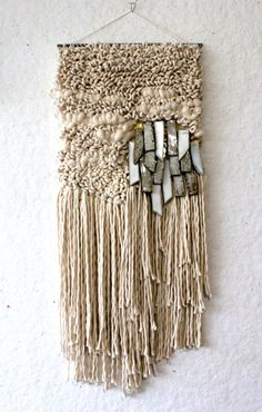 all-roads:Weaving by Janelle Pietrzak of All Roads. Fiber, goldleaf and stonew… all-roads: Tecelagem por Janelle Pietrzak de All Roads. Fibra, folha de ouro e grés. Art Fibres Textiles, Textile Fiber Art, Weaving Textiles, Weaving Art, Tapestry Weaving, Loom Weaving, Weaving Wall Hanging, Wall Hangings, Weaving Projects