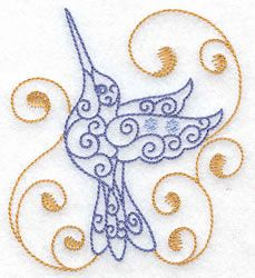 Hummingbird.  I want to tilt the bird to the left and nix the swirls.
