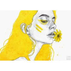 """Coming back to Yellow I just can't stop! It's the colour that reminds me of my childhood, for this one I simply decided to give it the title """"Nostalgia"""" - I'll be sharing the process of my Yellow pieces on my Patreon if you guys are interested, it will be released early this month! Stay tuned! PRINTS AVAILABLE (link in bio!)"""
