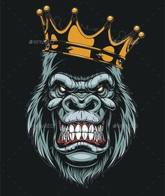 Illustration of Vector illustration, ferocious gorilla head on with crown, on white background vector art, clipart and stock vectors. Graffiti Wallpaper, Graffiti Art, Wallpaper Art, Vector Graphics, Vector Art, Image Vector, Art Sketches, Art Drawings, Sport Logos