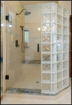 Glass block shower with door