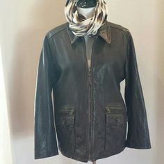 *NEW* The Territory Ahead Brown Leather Jacket Wonderful leather jacket with that distressed look that gets better with age.  Zip up front, four front pockets two that zip closed. Nicely sized so a sweater will fit easily under it. Light cotton lining. Women's XL,  brand new, never worn. NWOT The Territory Ahead Jackets & Coats