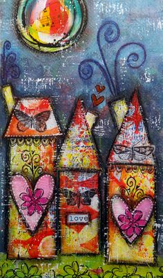 The Documented Life Project, Week 22 challenge:  Draw, paint or sketch a house. {mixed media, houses, hearts, moon}