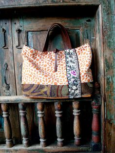 SaleHandmade+Leather+and+Floral+Fabric+Tote+or+by+VintageChase,+$110.00