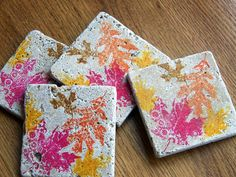 tile coasters colorful autumn leaves set of 4 by serenitylane
