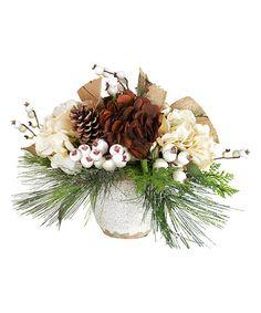 This Cream & Brown Hydrangea Arrangement is perfect! #zulilyfinds