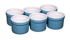 Durable Oven to Table 6 Piece Hobnail Porcelain Ramekin Souffle 4 Oz Dish Aqua >>> Details can be found by clicking on the image.