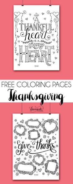 Two new FREE hand-drawn coloring pages with the perfect theme for this month: Thankfulness. Get both at bydawnnicole.com!