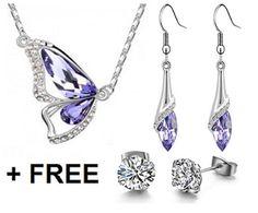 18k White GP Necklace & Earring Set Austrian Crystal Bridal Set Free Gift