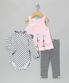 Take a look at this Pink & Black Embroidered Jumper Set - Infant by Gerson & Gerson on #zulily today!