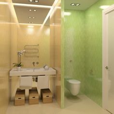 Wall Mounted Toilet With Privacy Wall Between Vanity Area