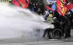 The Independent @Sarah Chintomby Kozich   Meanwhile in Turkey, police fire watercannon on disabled protester after 282 miners die http://ind.pn/1sQLnMS